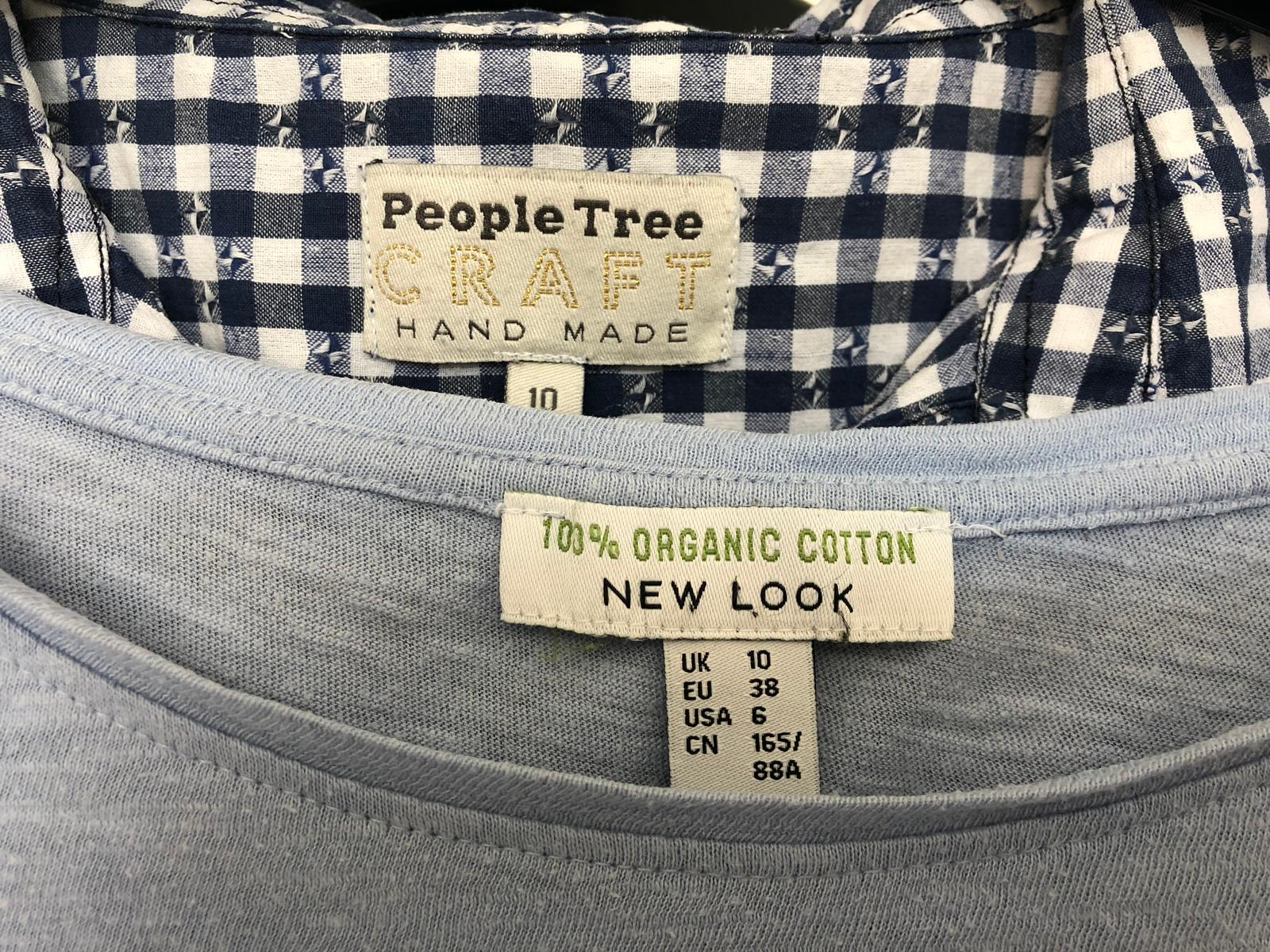 A picture showing a few items of clothing from People Tree and New Look