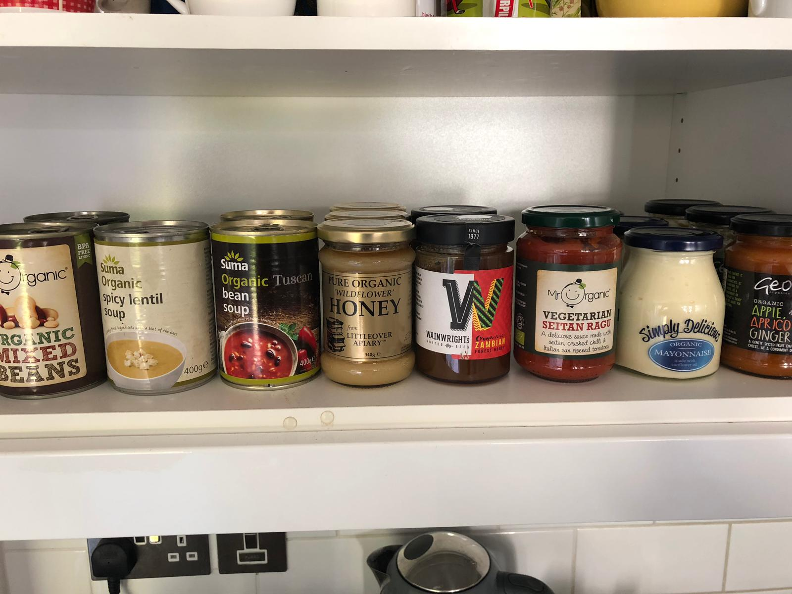 Jars in a cupboard